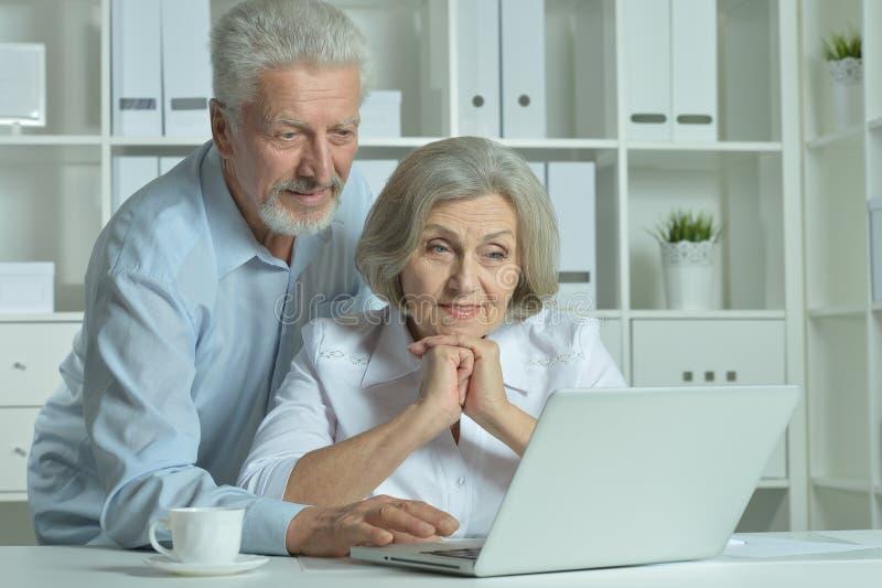 Pensionärdoktorer med bärbara datorn arkivbild