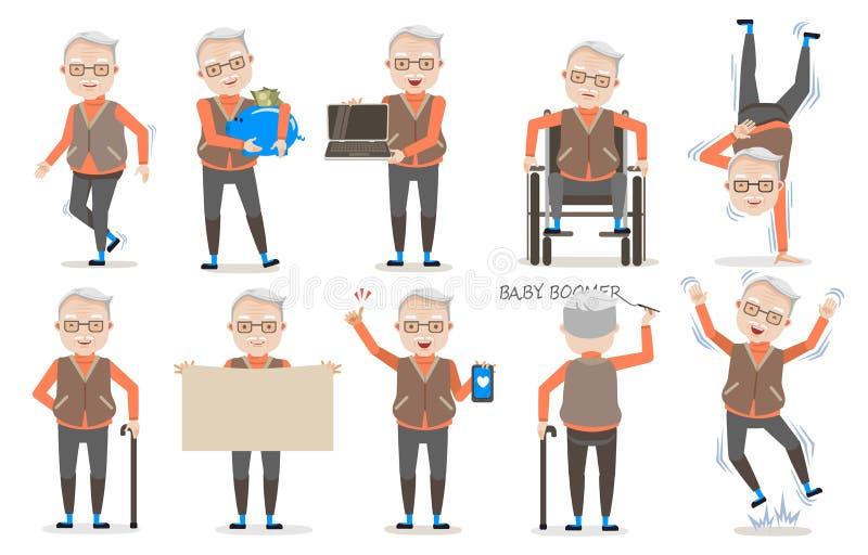 Pensionären poserar stock illustrationer