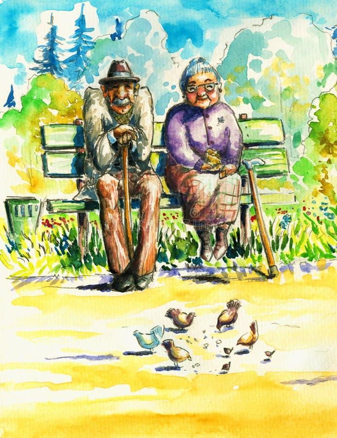 pensionärer stock illustrationer