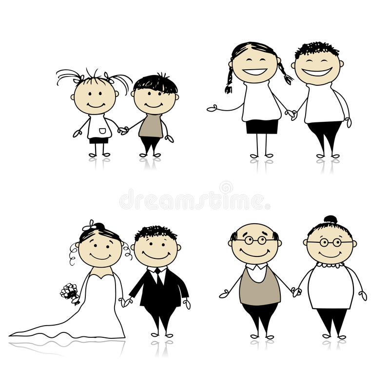 pensionärer för förhållande för vuxen människabarnfamilj royaltyfri illustrationer