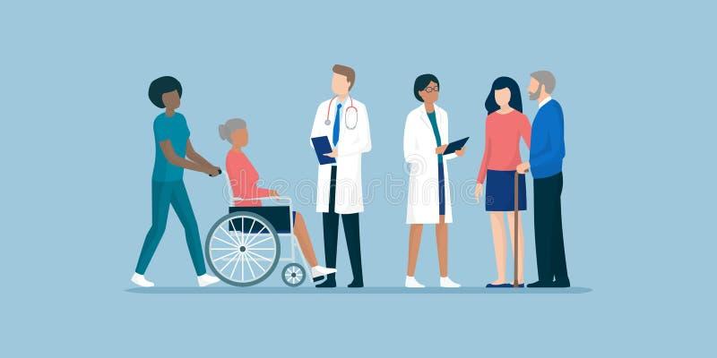 Pensionärer med laget av yrkesmässiga anhörigvårdare och doktorer royaltyfri illustrationer