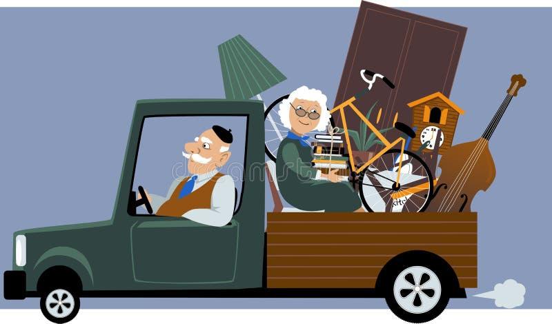 Pensionärer som flyttar sig till ett nytt hus stock illustrationer