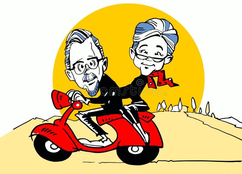 Pensionärer som kör en sparkcykel royaltyfri illustrationer