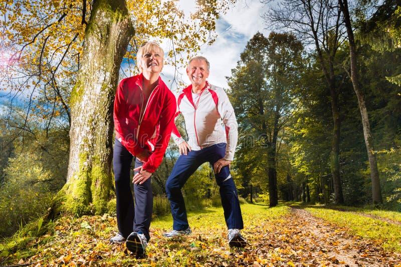 Pensionärer som utbildar på en skogväg arkivbilder