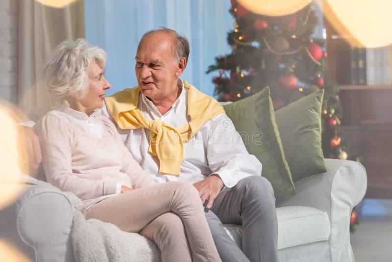 Pensionärer under jul arkivbild