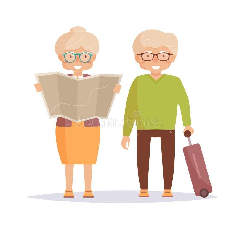 Pensionärhandelsresande Isolerad konst stock illustrationer