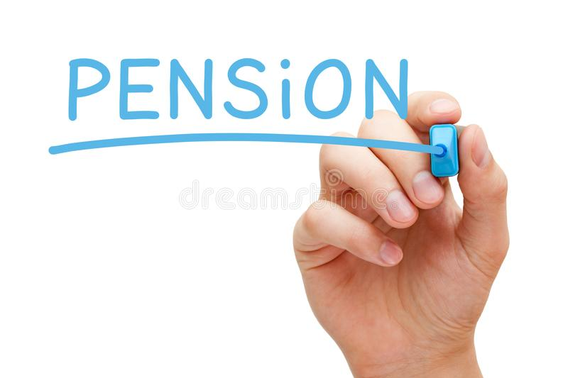 Pension Blue Marker royalty free stock photo