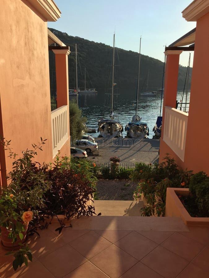 Pension entrance in Sivota, Lefkada Island, Greece stock images