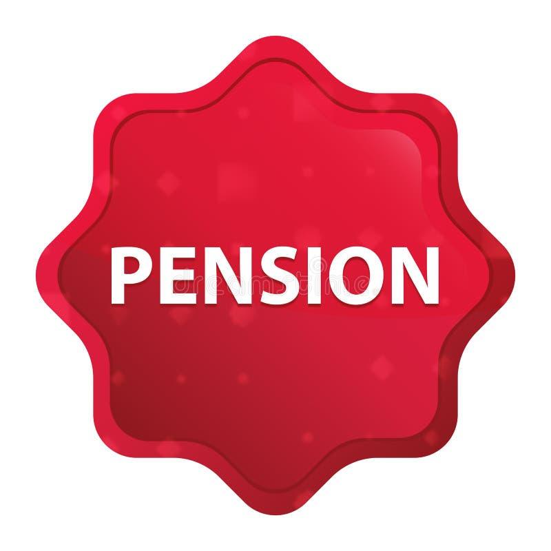Pension nebelhafter rosafarbener roter starburst Aufkleberknopf stock abbildung