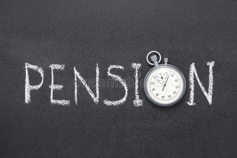 Pension. Word handwritten on chalkboard with vintage precise stopwatch used instead of O royalty free stock image
