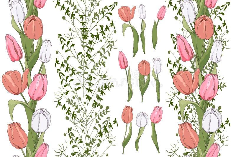 Pensionanti senza cuciture con gli elementi del tulipano royalty illustrazione gratis