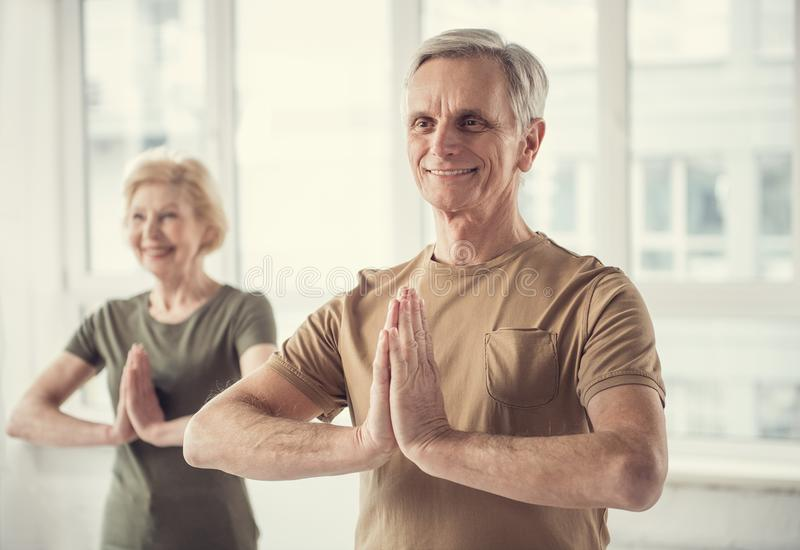 Pensionati allegri che praticano gli esercizi di yoga fotografia stock