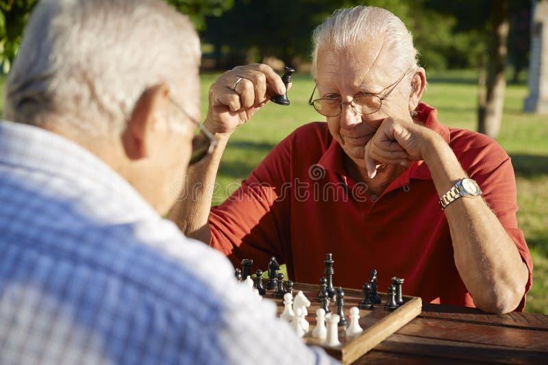 Pensionati attivi, due uomini senior che giocano scacchi alla sosta fotografie stock