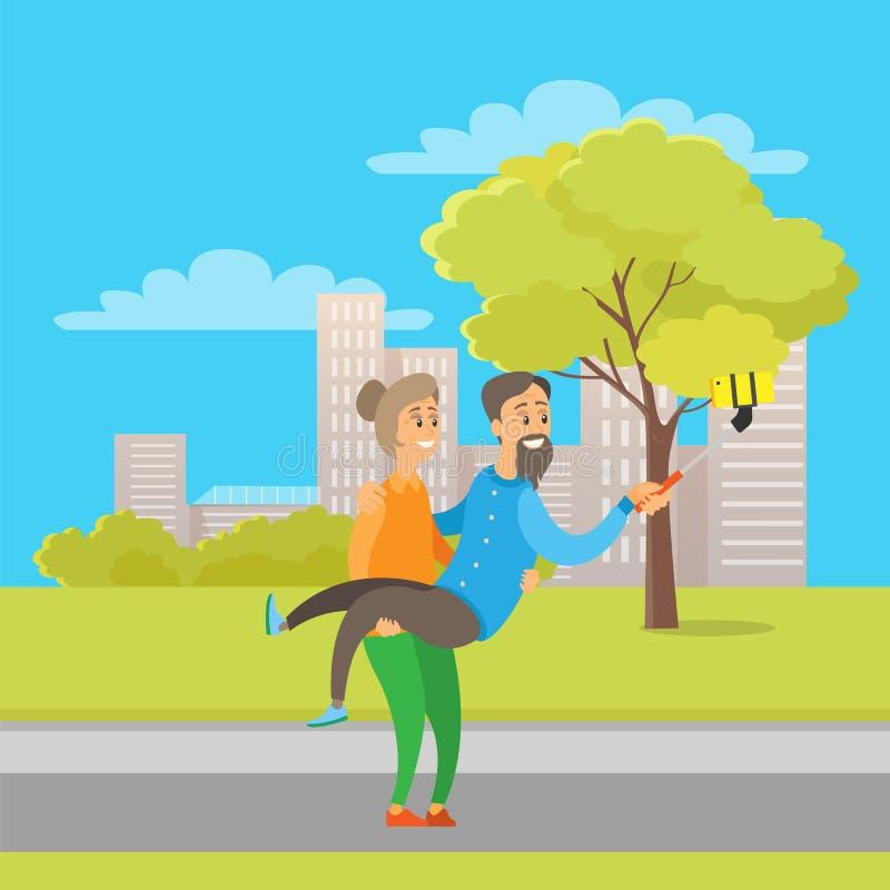 Pensionati che prendono Selfie nel parco della città, Autumn Fun illustrazione vettoriale
