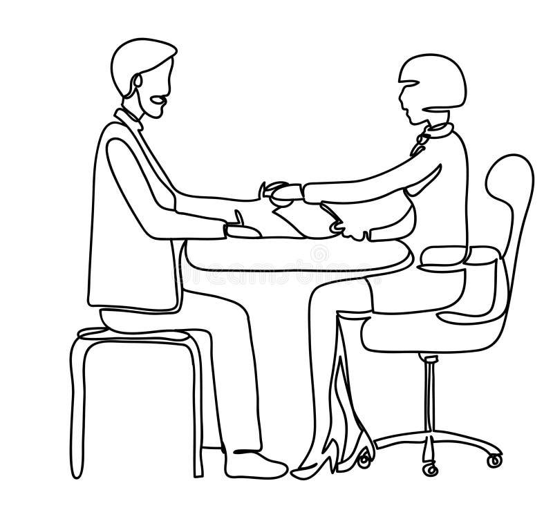 Pensionato della stretta di mano ed impiegato della banca nell'ufficio Illustrazione professionale di vettore isolata su fondo bi illustrazione di stock