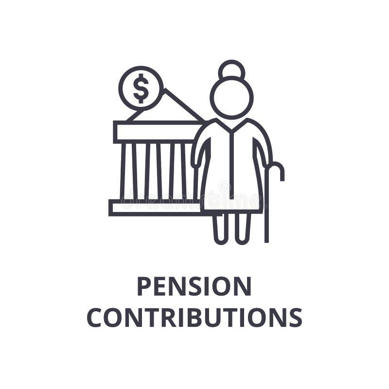 Pensionbidrag fodrar symbolen, översiktstecknet, det linjära symbolet, vektorn, plan illustration vektor illustrationer