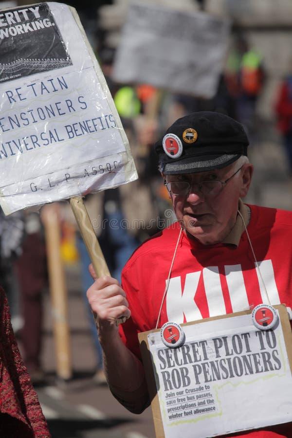 Pensioner Against Cuts Editorial Photo
