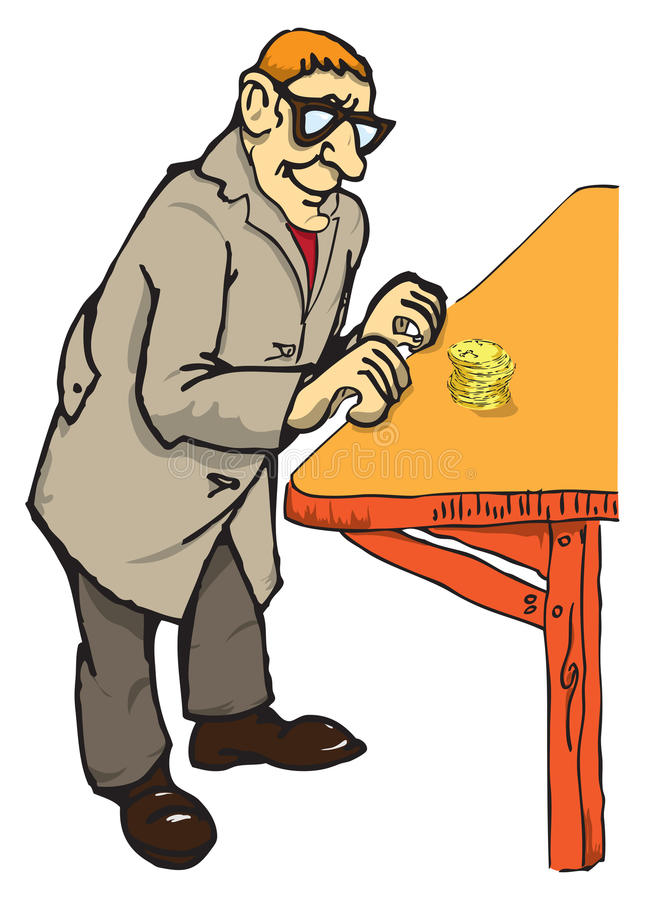 Pensioner with coins