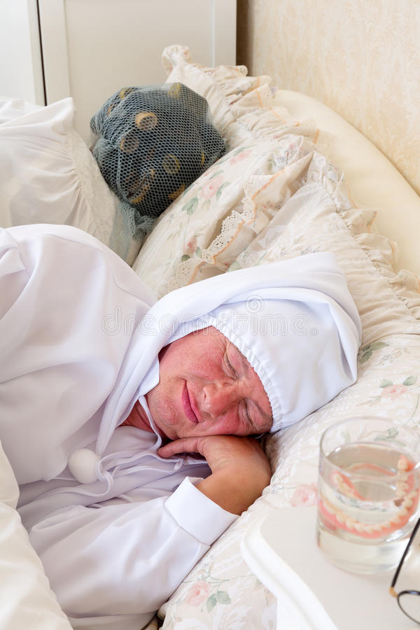 Download Pensioner couple sleeping stock image. Image of dentures - 26155489