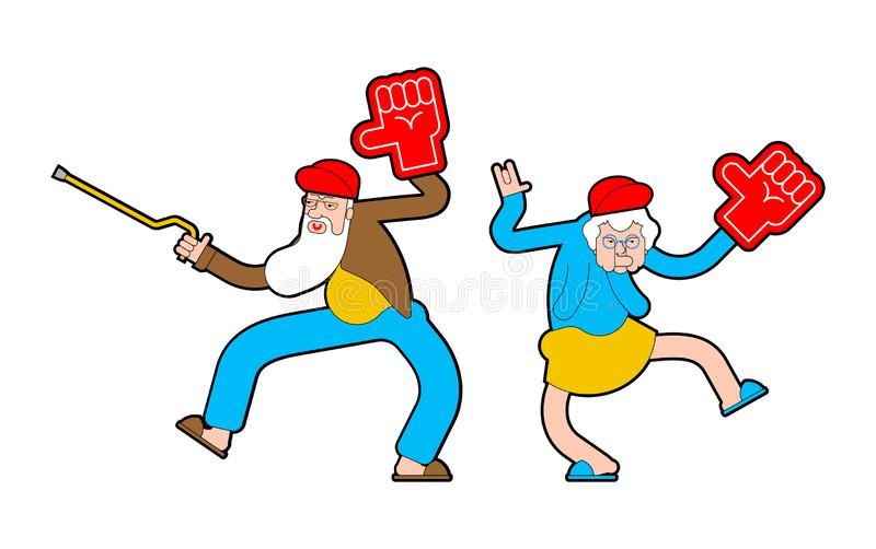 Pensioner fan with foam arm. Grandfather and grandmother Fanatic isolated vector illustration vector illustration