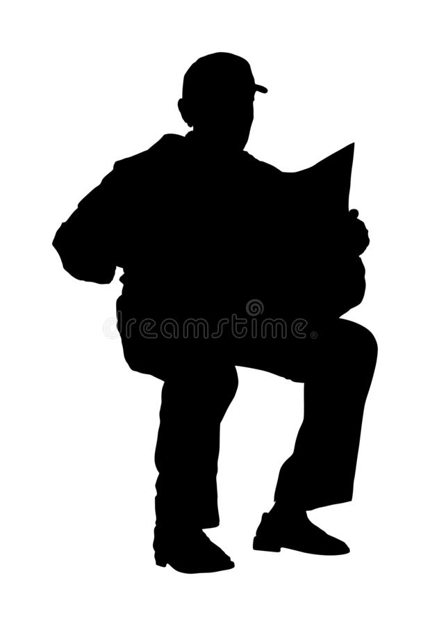 Pensioner read newspapers vector silhouette illustration isolated on white background. Senior man relaxing outdoor. Retail old man. Grandpa veteran neighbor stock illustration