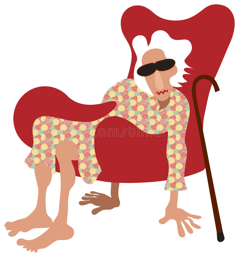 Pensioner relax. Old lady sitting in armchair without legs. Instead she keep floor with her hands and feet. Color illustration. It is not funny, rather showing stock illustration