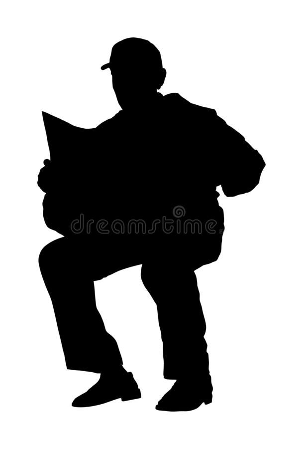 Pensioner setting and reading newspapers vector silhouette isolated on white background. Senior relaxing outdoor. Retail old man. Grandpa veteran spend free stock illustration