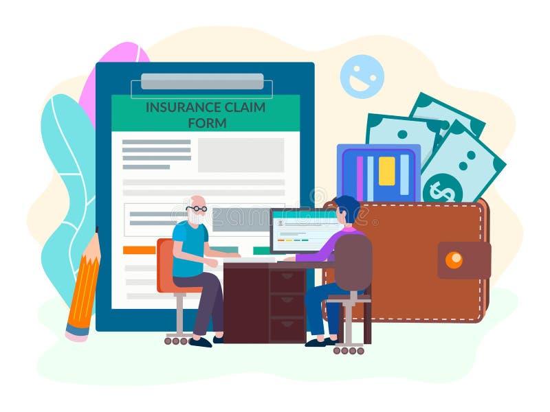 Pensionera bestämmelse, försäkringbetalningar för pensionärer, socialt skydd av äldre folk vektor illustrationer