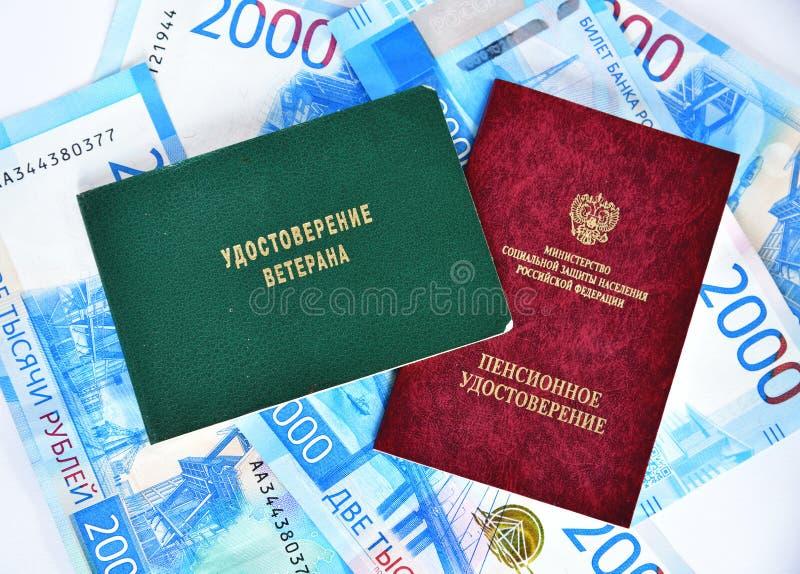 Pensionera certifikatet av departementet av socialt skydd av befolkning och certifikatet av veteran, Ryssland royaltyfria foton
