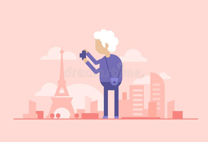 Pensionerad turist - modern plan designstilillustration stock illustrationer