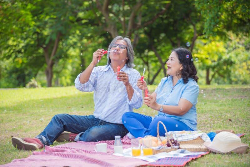 Pensionerade par som blåser bubblor parkerar in royaltyfri foto