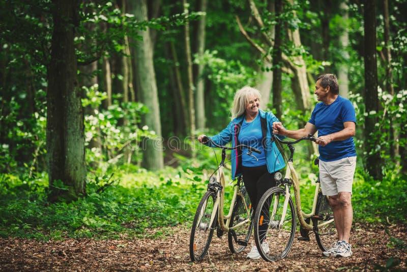 Pensionerade par som går med cyklar i skogen royaltyfri fotografi
