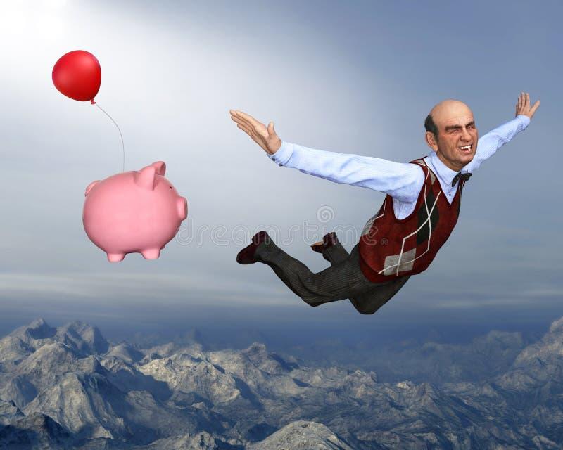 Pensionering, Gepensioneerde, Geld, Besparingen, Pensioen stock illustratie