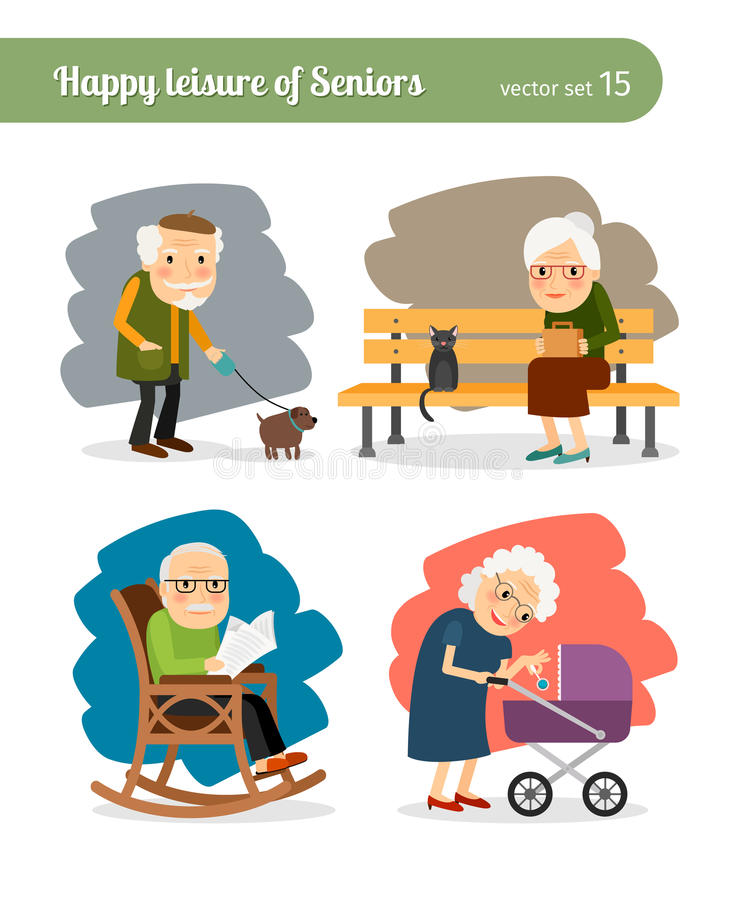 Pensionerings oude mensen royalty-vrije illustratie