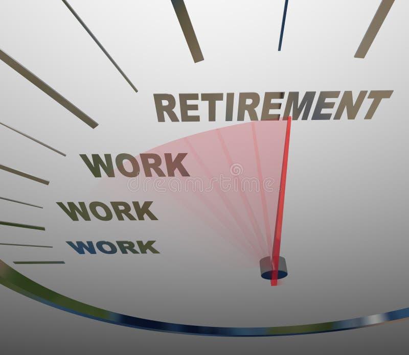 Pensioneringssnelheidsmeter die aan Eind van het Werkcarrière rennen vector illustratie