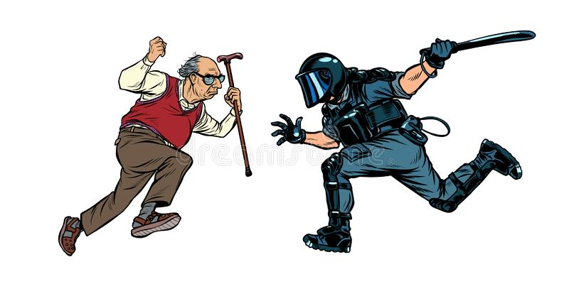 Pensioners against the police. riot police with a baton. Pop art retro vector illustration drawing royalty free illustration