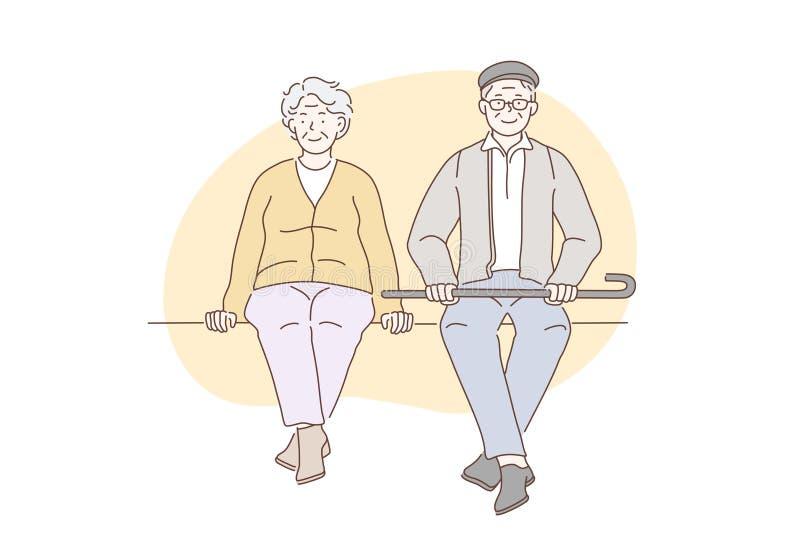 Pensioners, grandparents, older concept. Pensioners, grandparents, older people concept. Older happy men and women enjoy sitting in parks. Elderly couple sit stock illustration