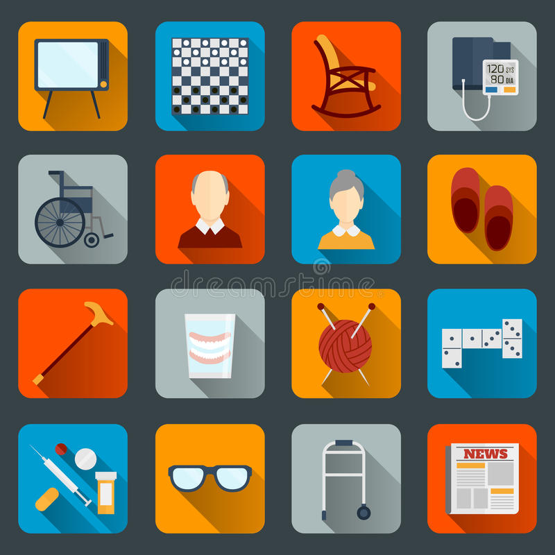 Pensioners life icons flat vector illustration