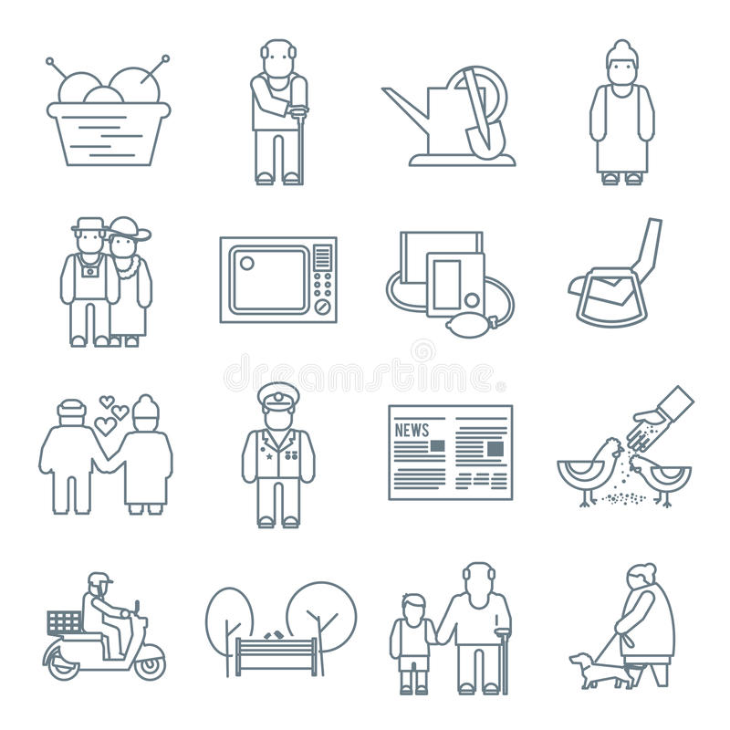 Pensioners Life Icons vector illustration