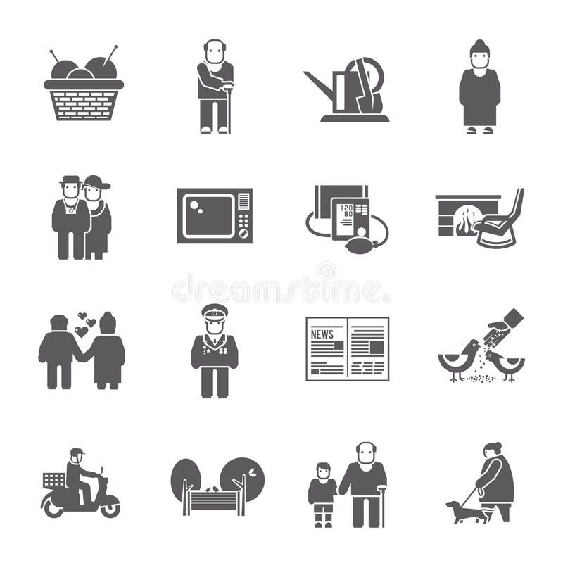 Pensioners Life Icons Set royalty free illustration