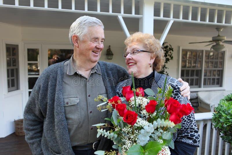 Pensionierte Paare in der Liebe stockbilder
