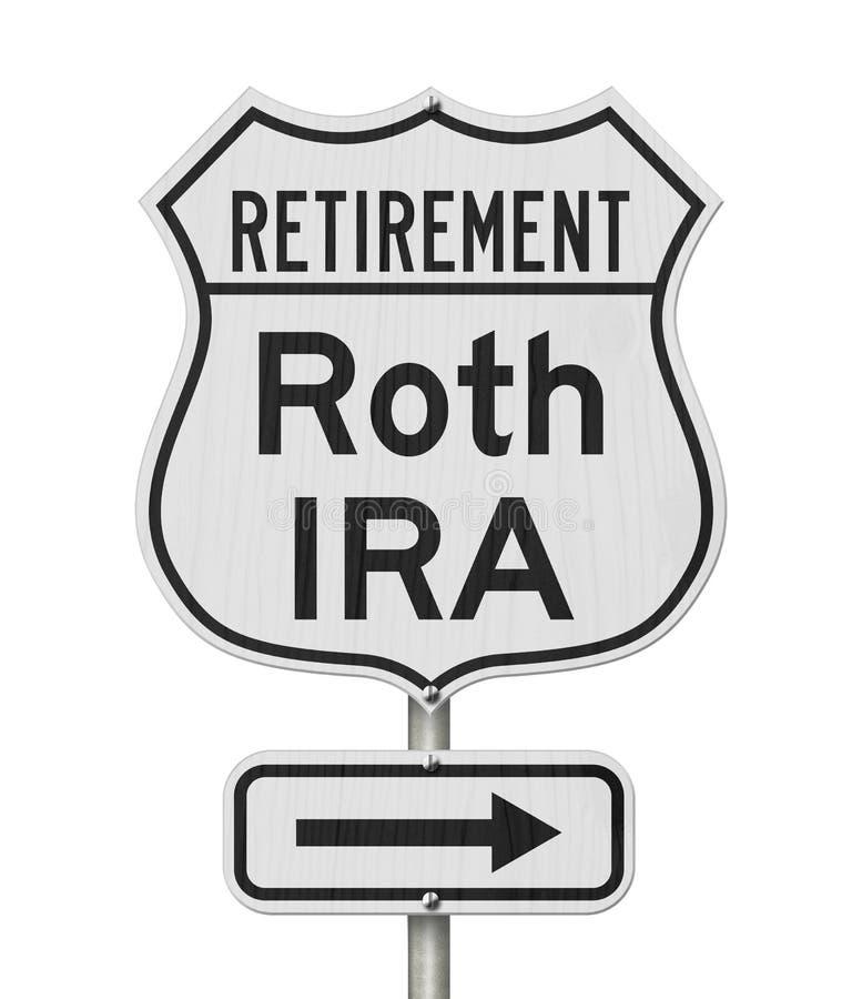 Pensionierung mit Roth IRA Plan Route auf dem US-Autobahnschild lizenzfreies stockfoto