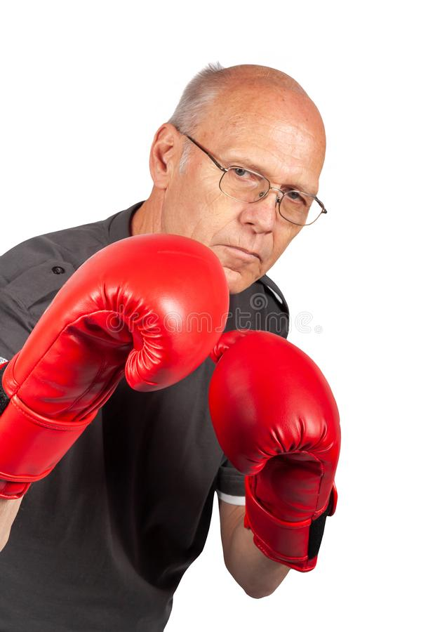 pensionista boxer foto de stock