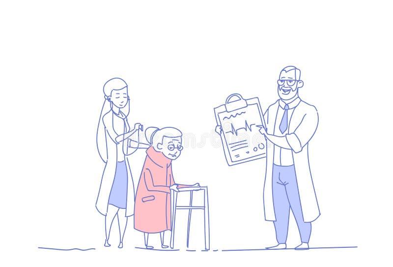 Pensionista mayor del grupo de los doctores de la consulta médica de la mujer en el garabato del bosquejo del concepto de la aten ilustración del vector