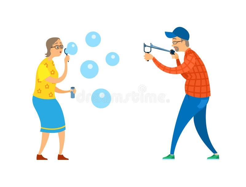 Pensionistas con vector de las burbujas de la catapulta y de jabón ilustración del vector