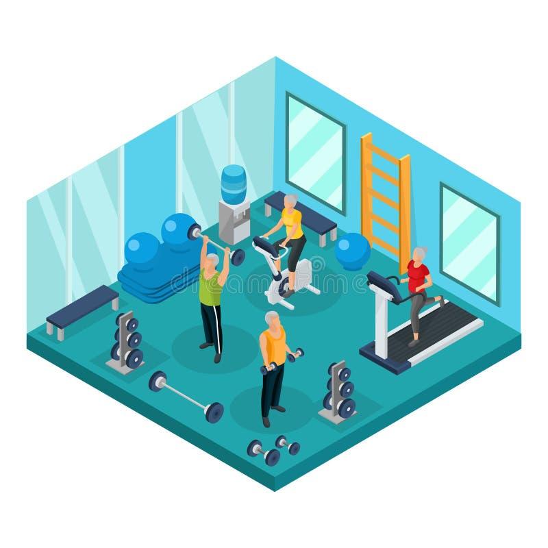 Pensionistas isométricos en concepto del gimnasio stock de ilustración