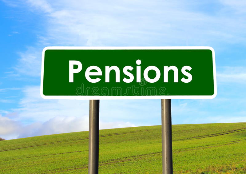 Pensions Sign stock photo