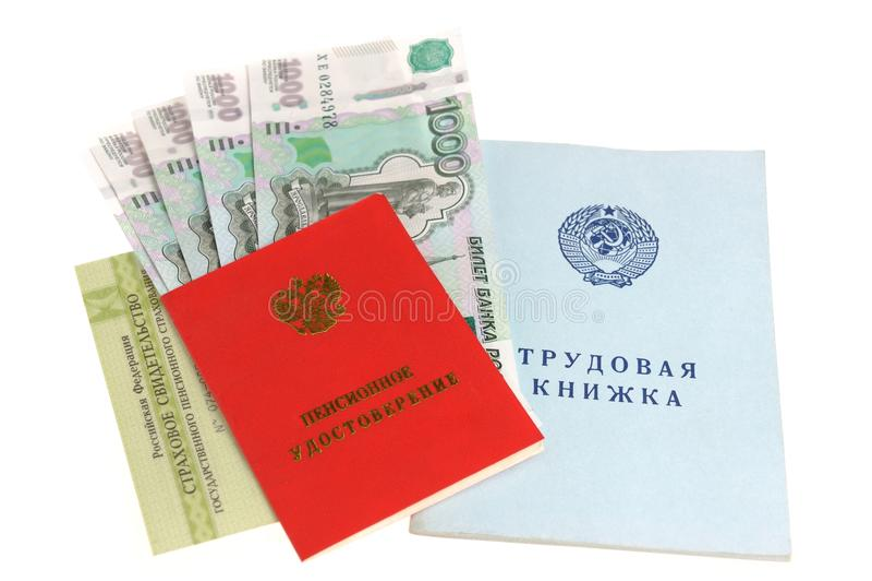 Pensionsdokumente und -geld stockbild