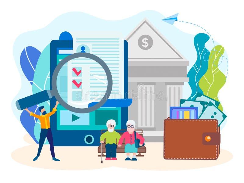 Pensionsfondbegrepp vektor illustrationer