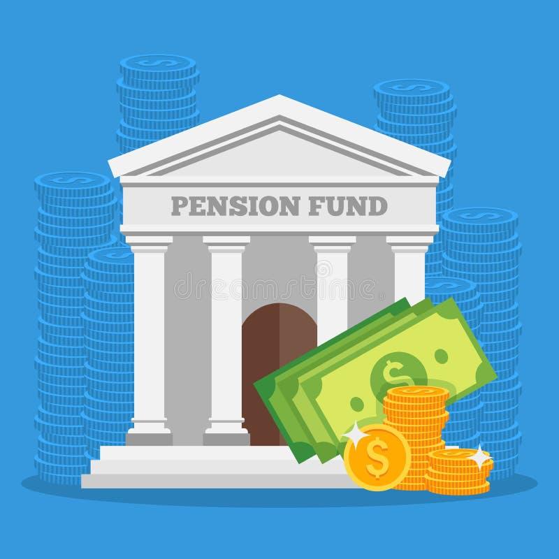 Pensionskassekonzept-Vektorillustration im flachen Artdesign Finanz-Investition und Einsparungshintergrund stock abbildung